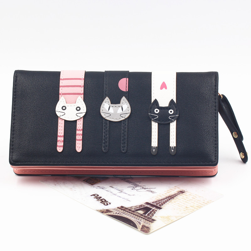 Charming Long Wallet with Three Cat Patches for Feline-Lovers