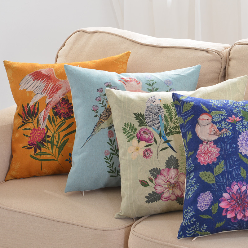 Stylish Bird and Floral Pillowcase for Throw Pillows