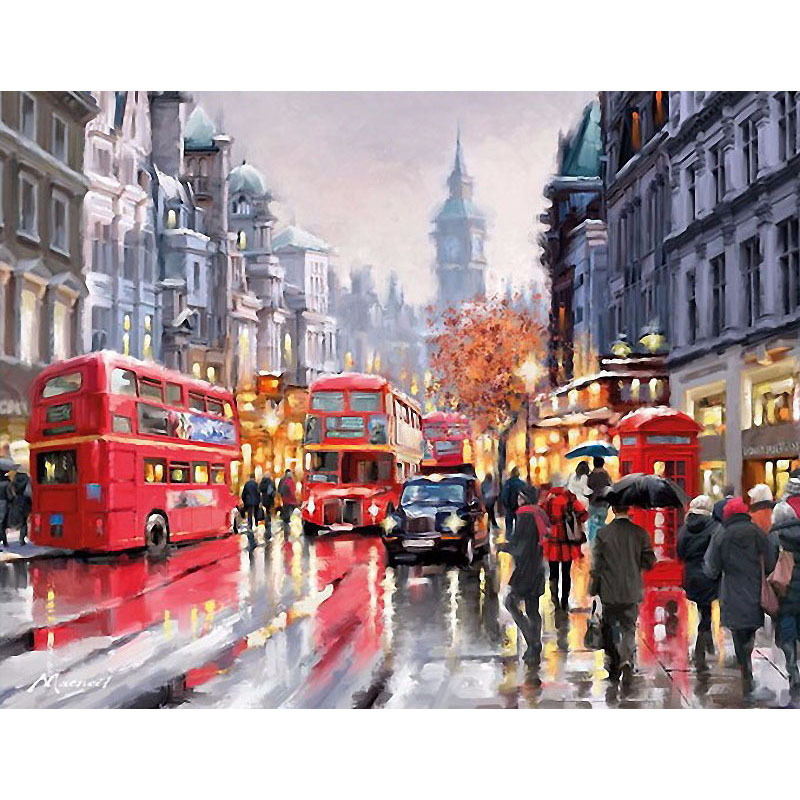 Dreary London Cityscape Painting Kit for Creating Your Own Wall Art