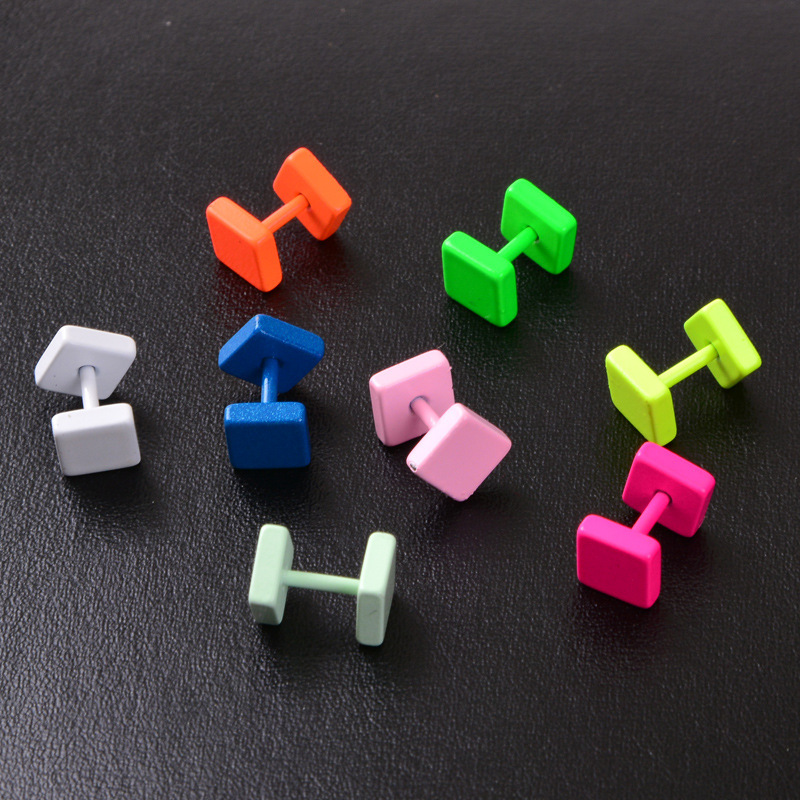 Flat Squares Straight Barbell Piercing Jewelry for Pop of Color