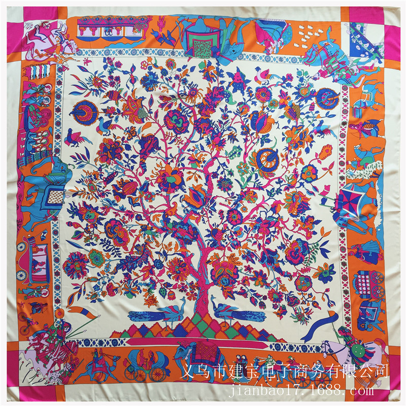 Classic Silk Square Scarf for Women and Men