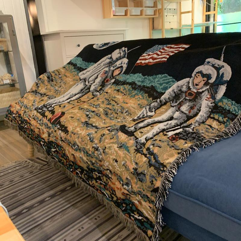 First Man in the Moon Throw Blanket