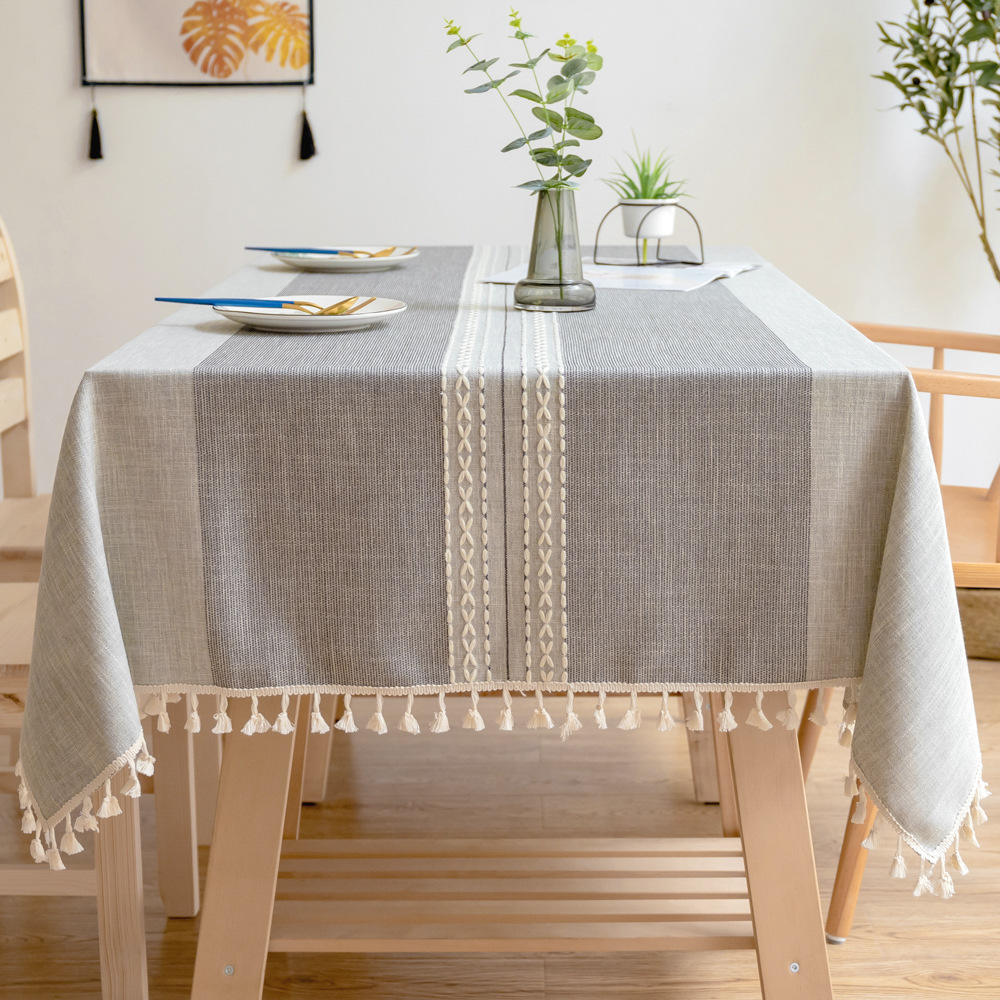 Minimalist Hemp Fiber, Polyester Fiber, Cotton and Linen Table Cloth for Dining Tables