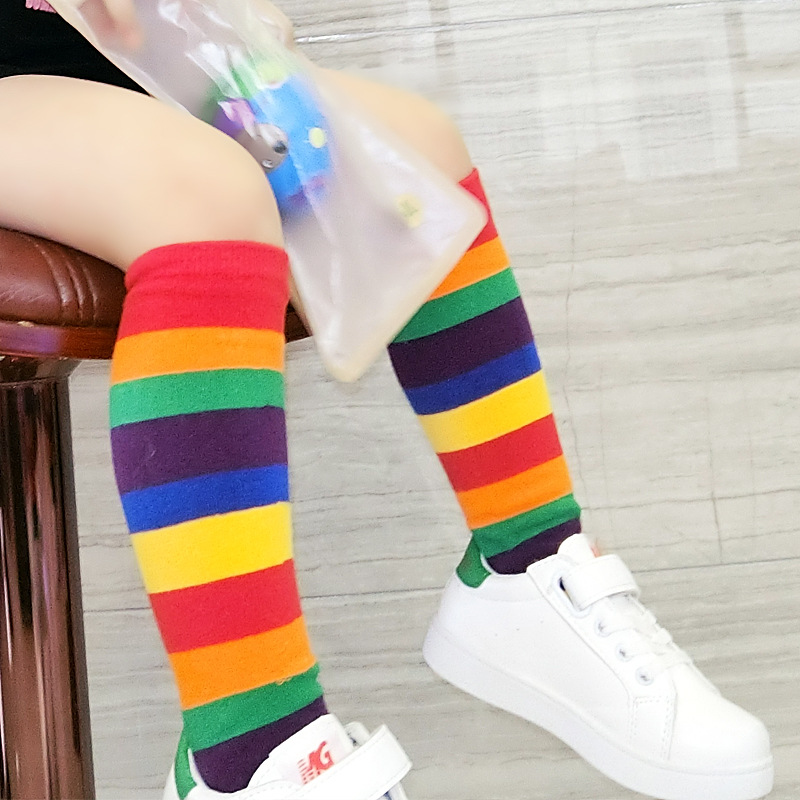 Trendy Raindow Socks for Children's Casual Outdoor Outfit