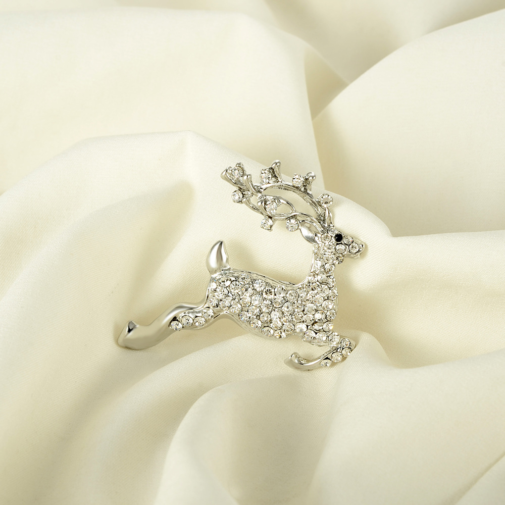 Modish Faux Diamond-Studded Deer Brooch for Suit Jackets