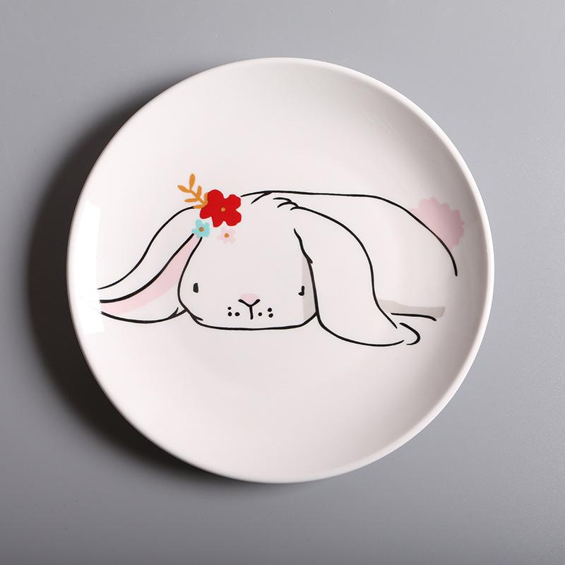 Bunny White Round Plate