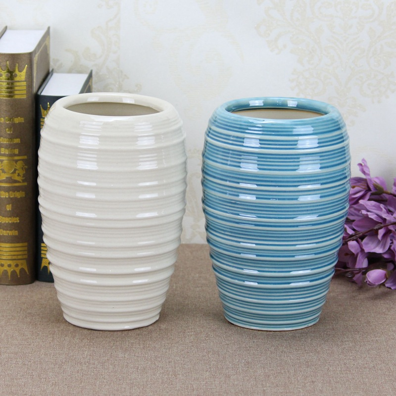 Creative Ribbed Ceramic Vase for Coffee Table
