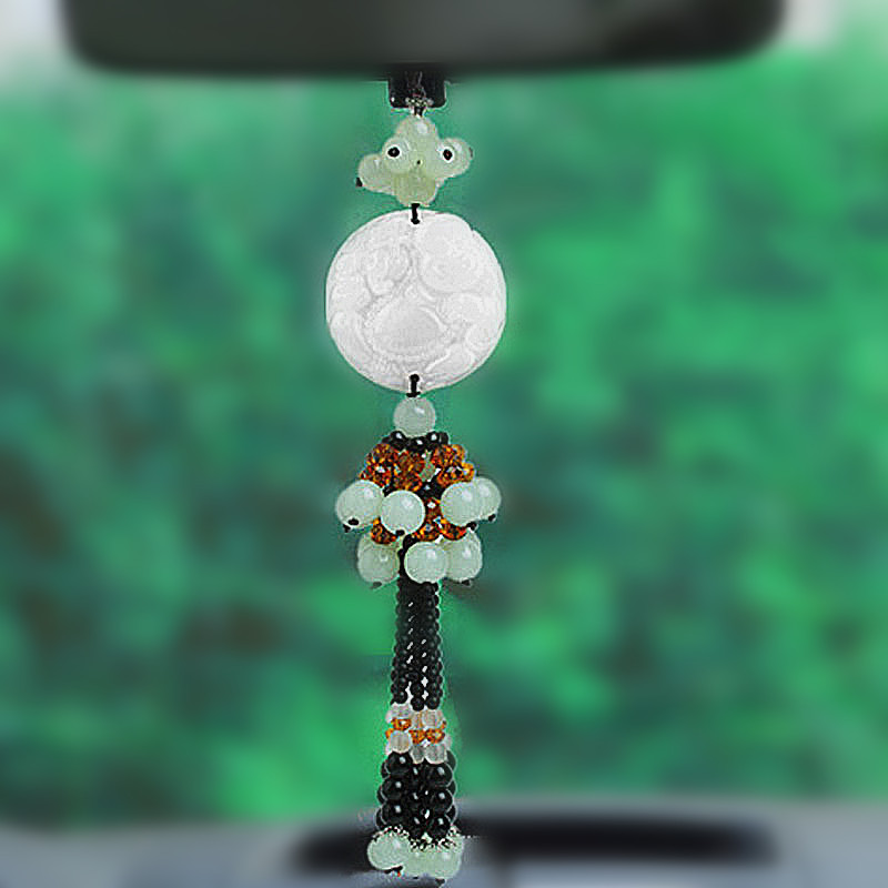 Faux Jade Mirror Charm for Car Decorations