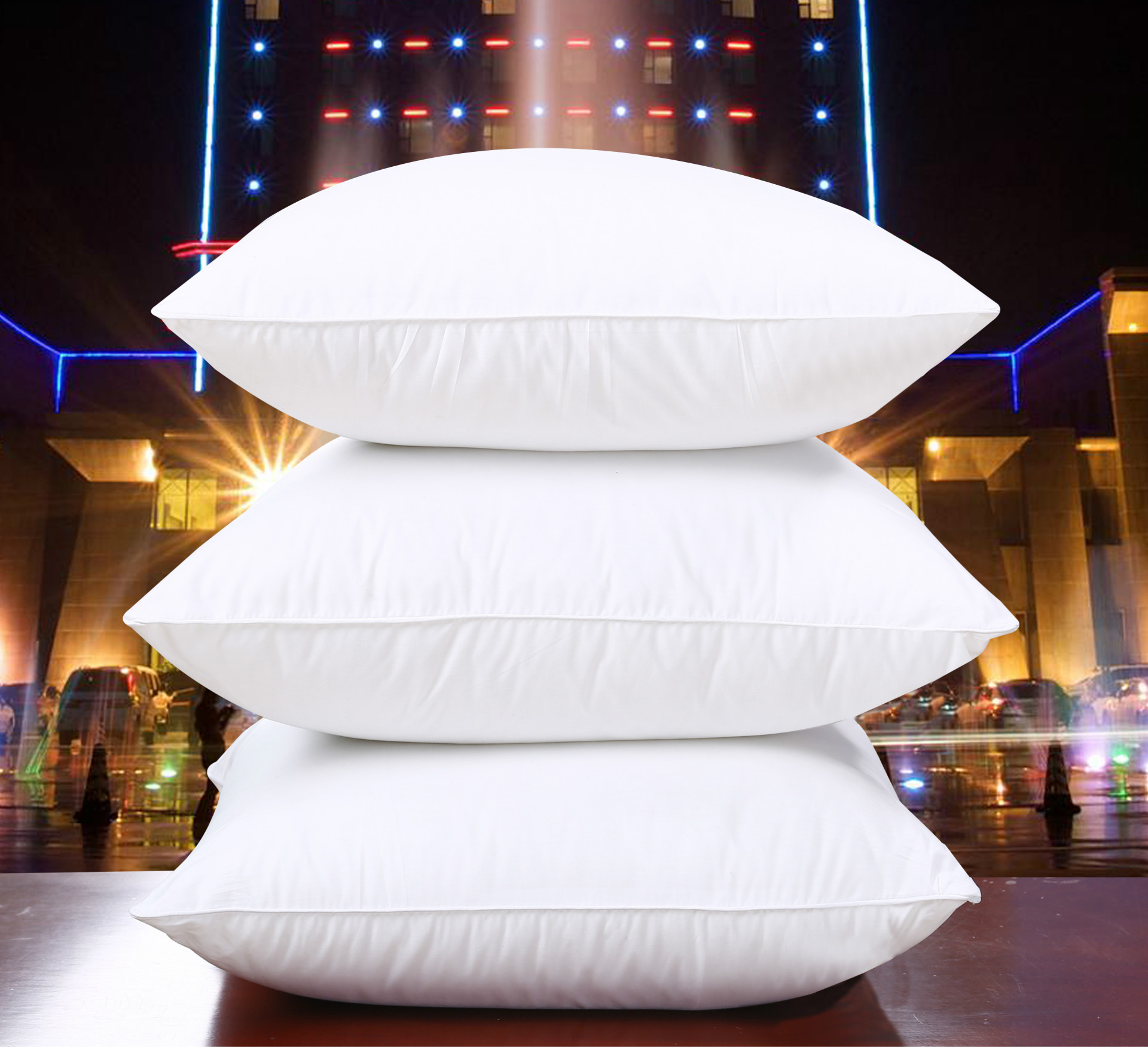 Fluffy White Square Expandable Pillows for Hotel Rooms