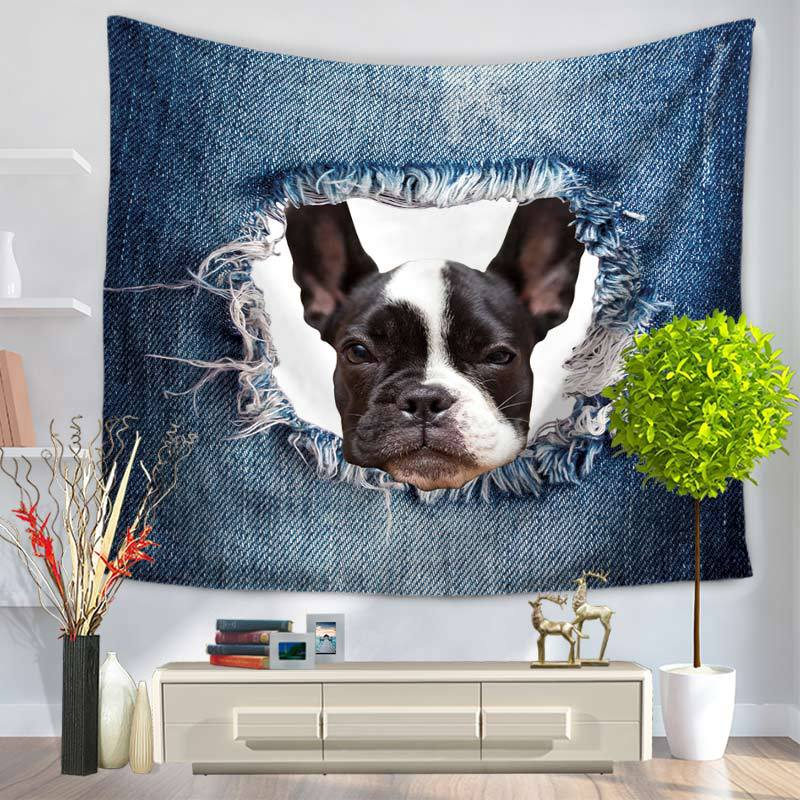 Adorable Dog in a Hole Tapestry for Wall