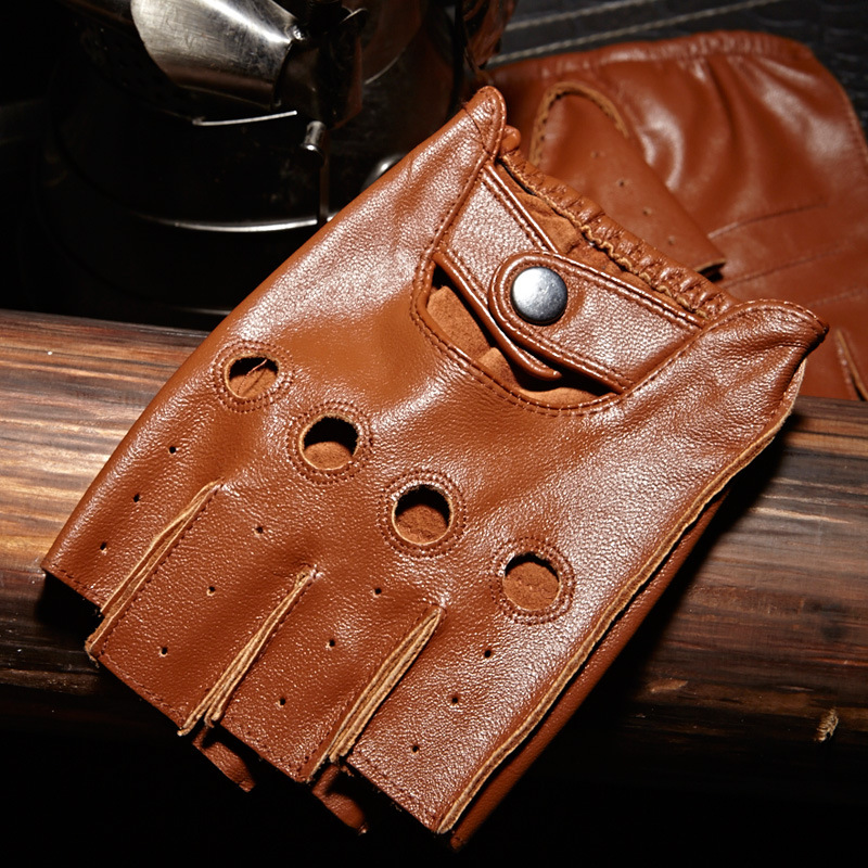 Classic Half Finger Leather Gloves