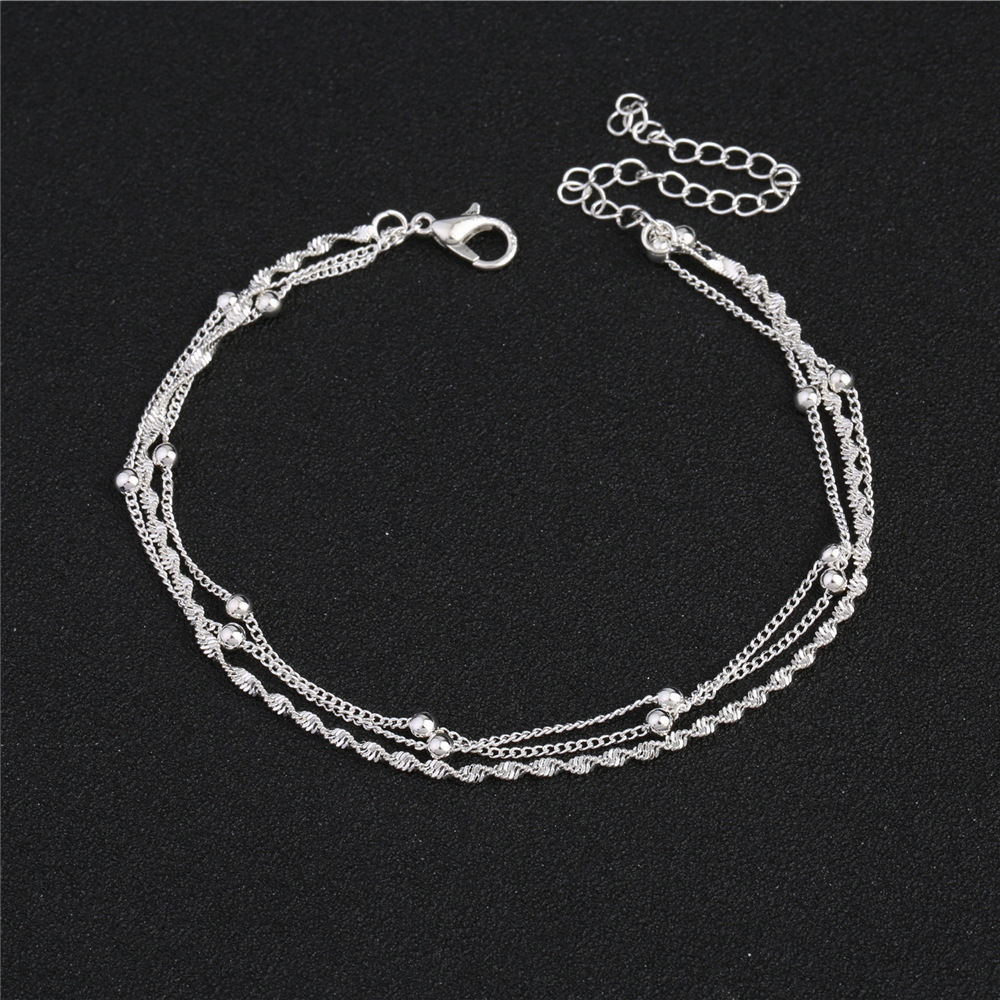 Silver Tri-Layer Chain Anklet for Minimalist Looks