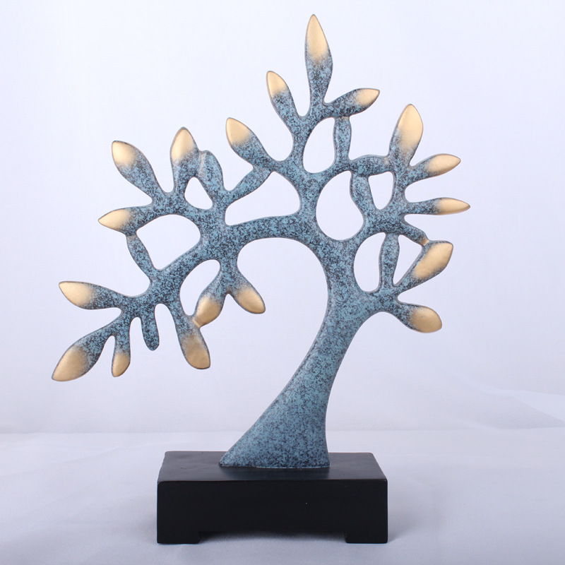 Contrasting Gold and Blue Lucky Tree Decor for Good Fortune