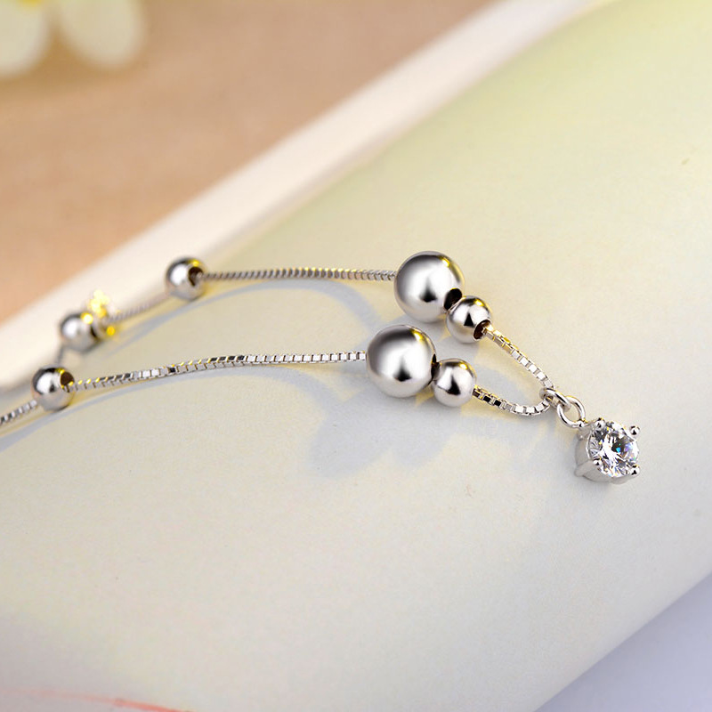 Round Silver Bead and Crystals Chain Anklet