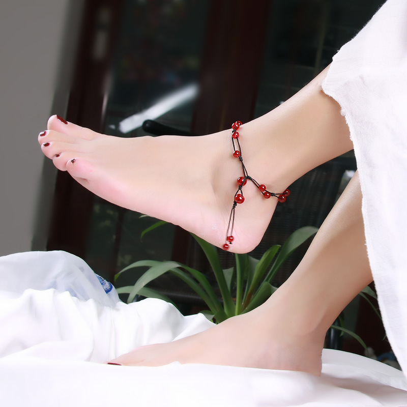 Black and Red Beads Anklet for Women