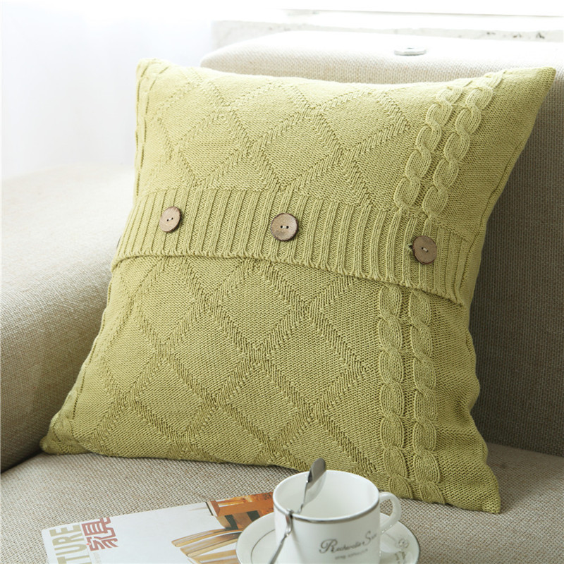 Minimalist Knitted Pillowcase with Buttons for Living Room Decor