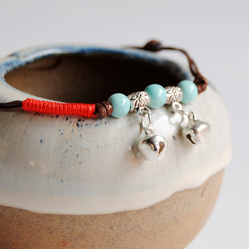 Oriental Ceramic Bead Bell Anklet for Boho Chic Look