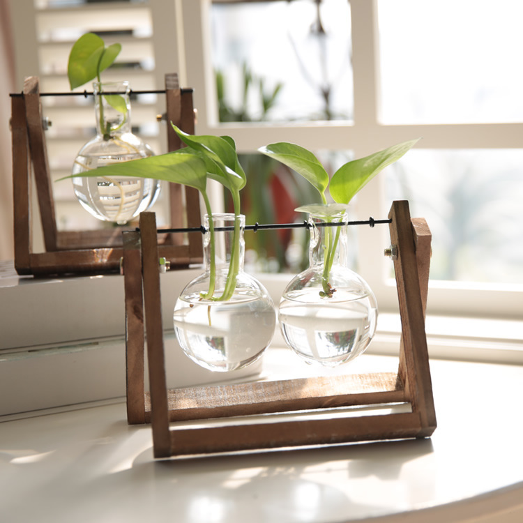 Imaginative Glass Vase with Rack for Outdoor Decor
