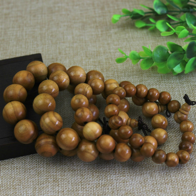 Luxe Peach Wood Prayer Beads for Buddhist Practitioners