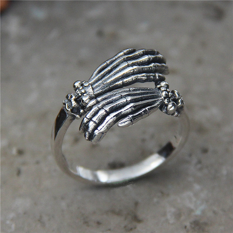 Modern Sterling Silver Skull Hand Ring for Punk Fashion Style