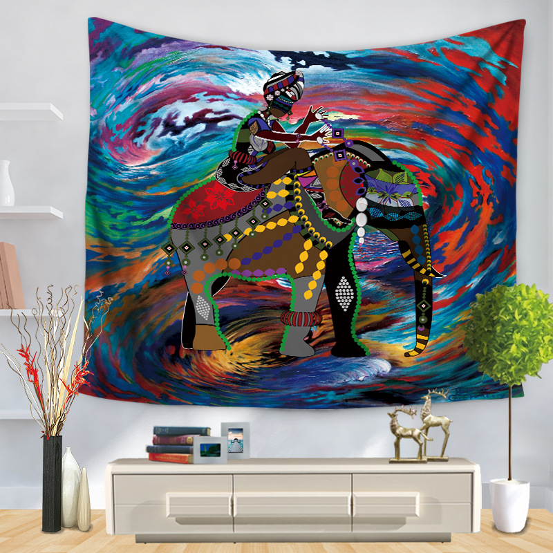 Abstract Elephant Print Tapestry for Bedroom Wall