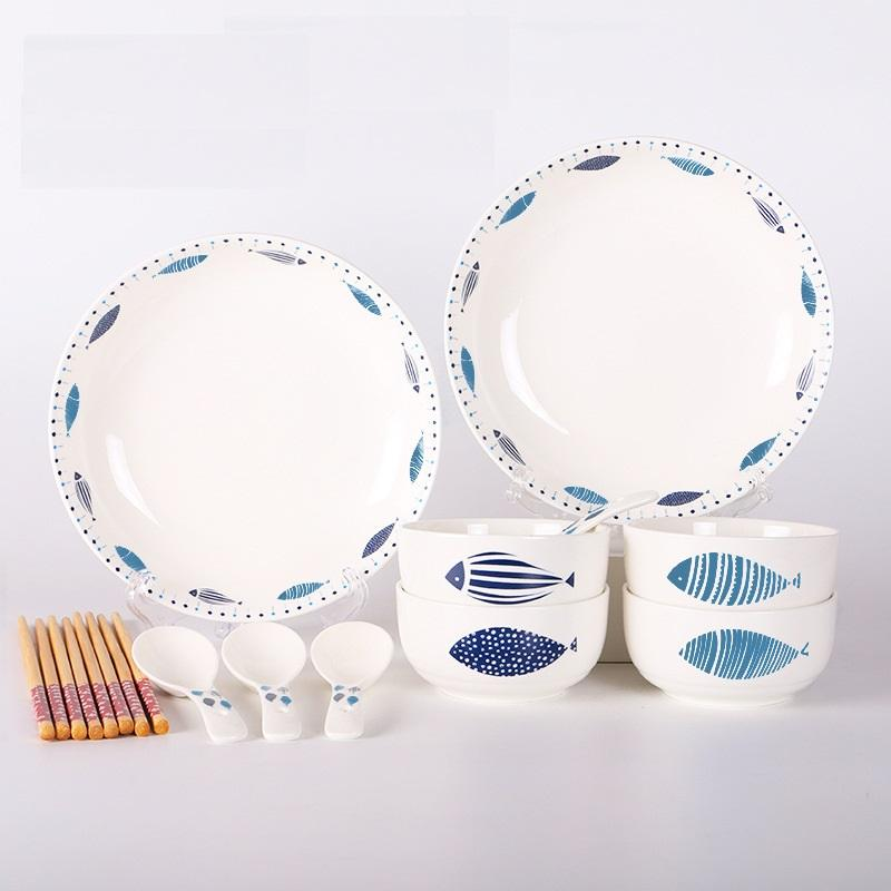 White with Fishes 6-Piece Dinnerware Set