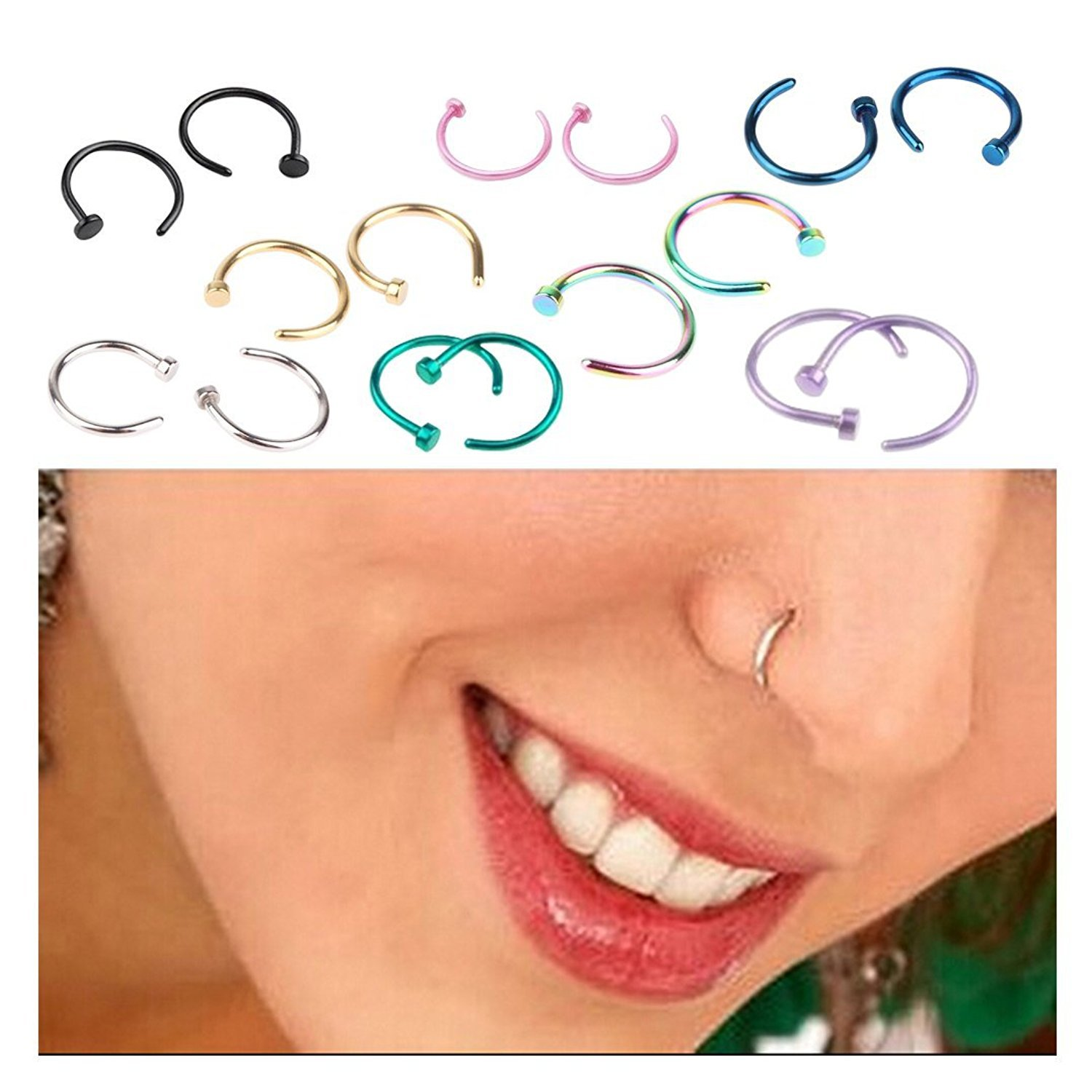 Stainless Steel Nose Ring (Color and Size Varies)