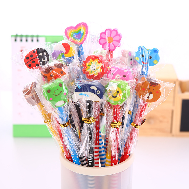 Cute and Colorful Pencil with Cartoon Eraser for Kid's School Supplies