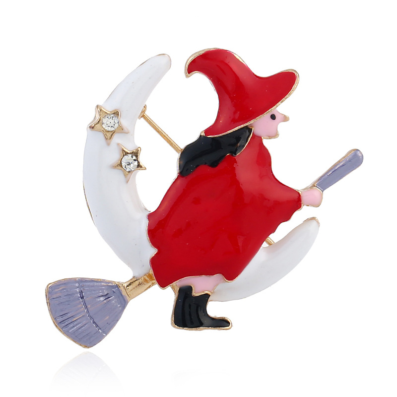 Cute Witch Moon Broomstick Pin Brooch for Whimsical Fashion Accessories