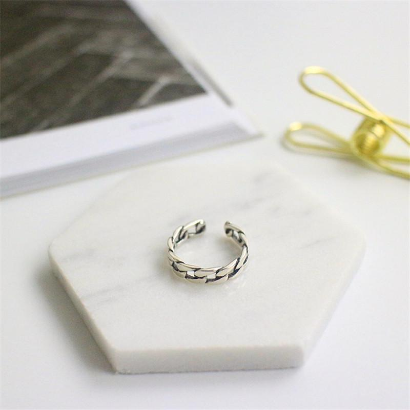 Sterling Silver Cuban Chain Open Ring