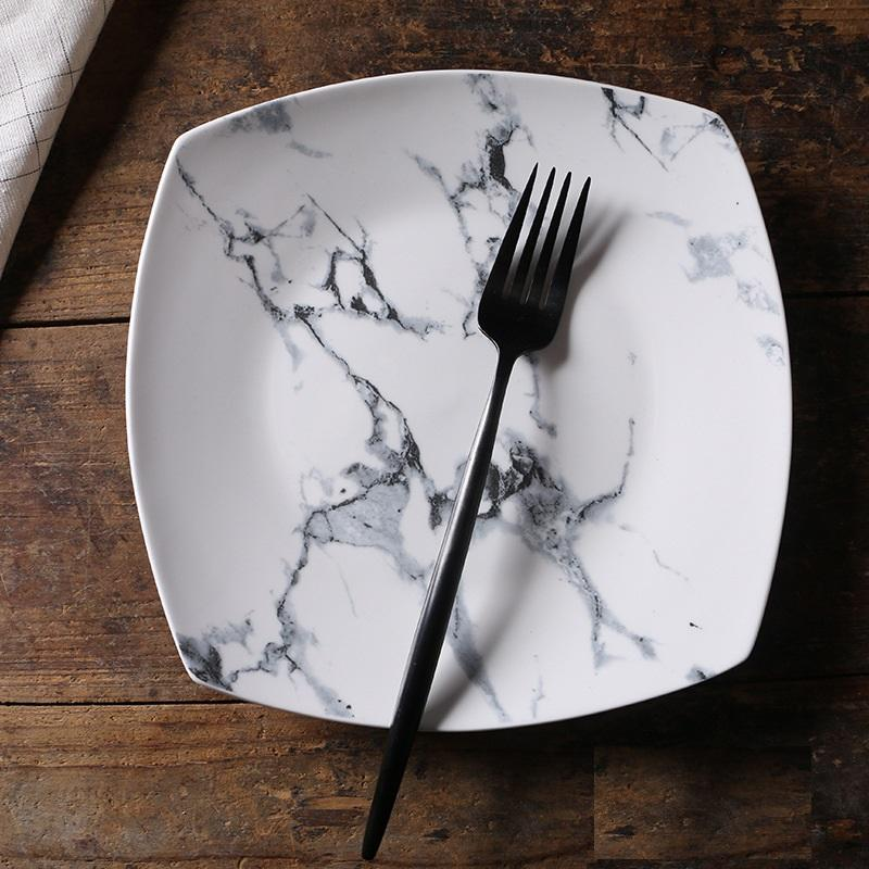 White Square Marble Plate