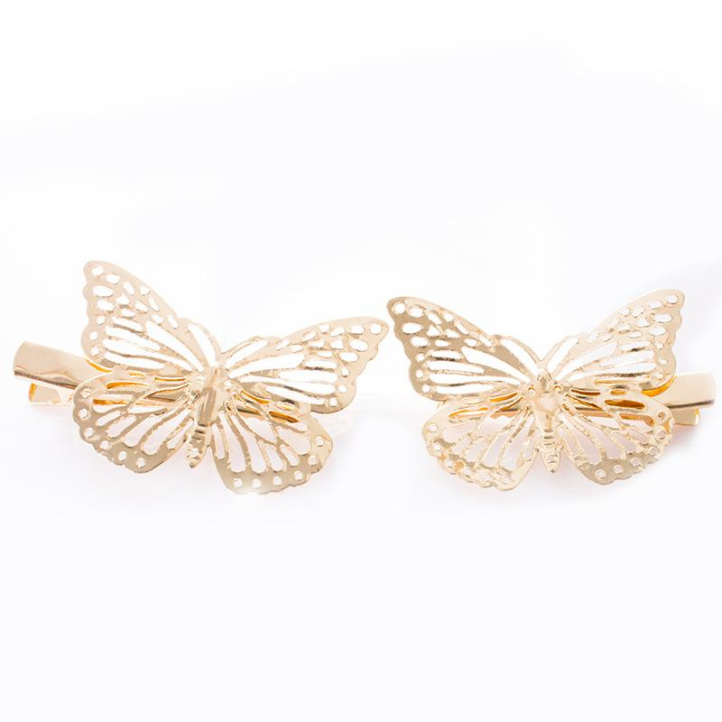 Golden Hollow Butterfly Hair Clip