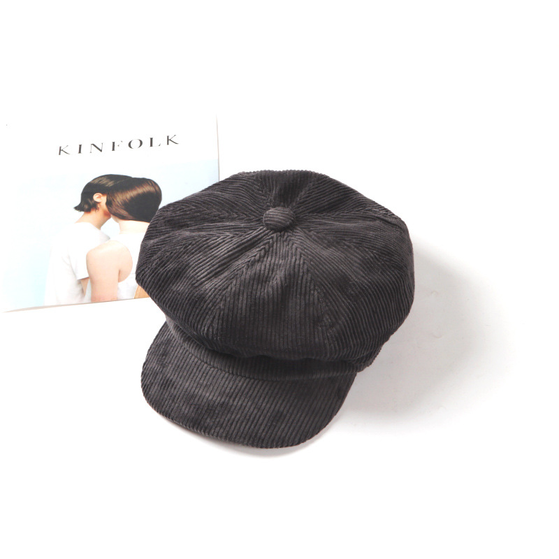 Classy Retro Corduroy Beret Cap for Formal Occasion Outfits