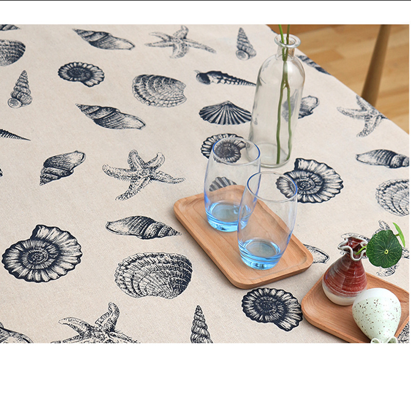 Blue Shell Patterned Tablecloth for Nautical Homes