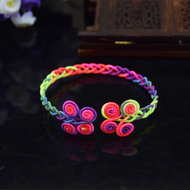 Neon Floral Woven Bracelet for Casual Wear