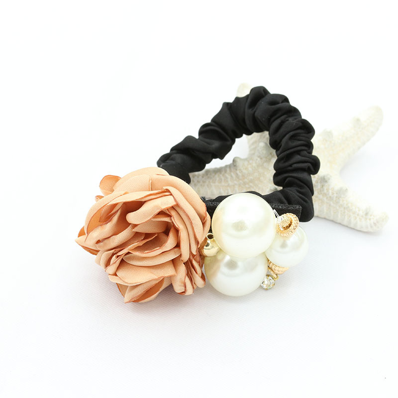 Synthetic Pearl and Rose Slim Scrunchie for Fancy Dinner Parties