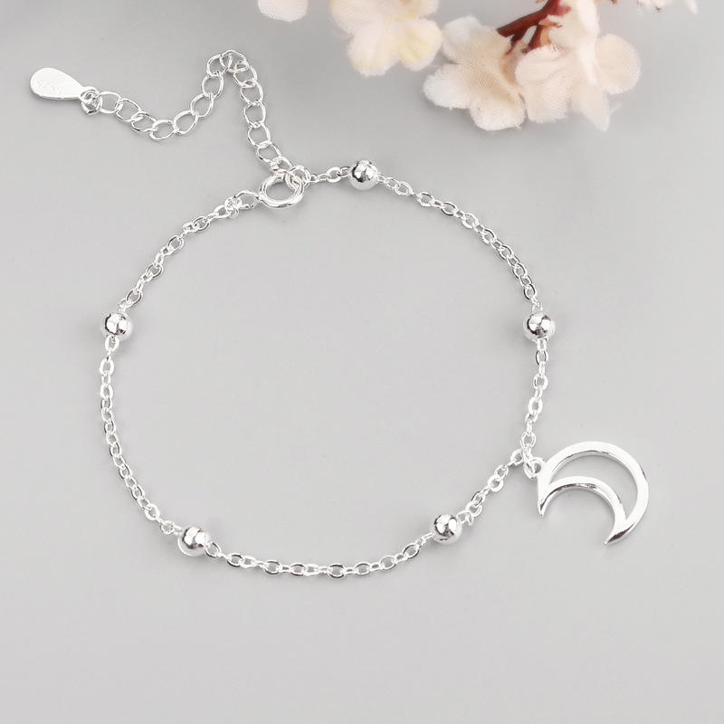 Stylish Sterling Silver Chain with Moon Charm Bracelet for Everyday Outfit Matching