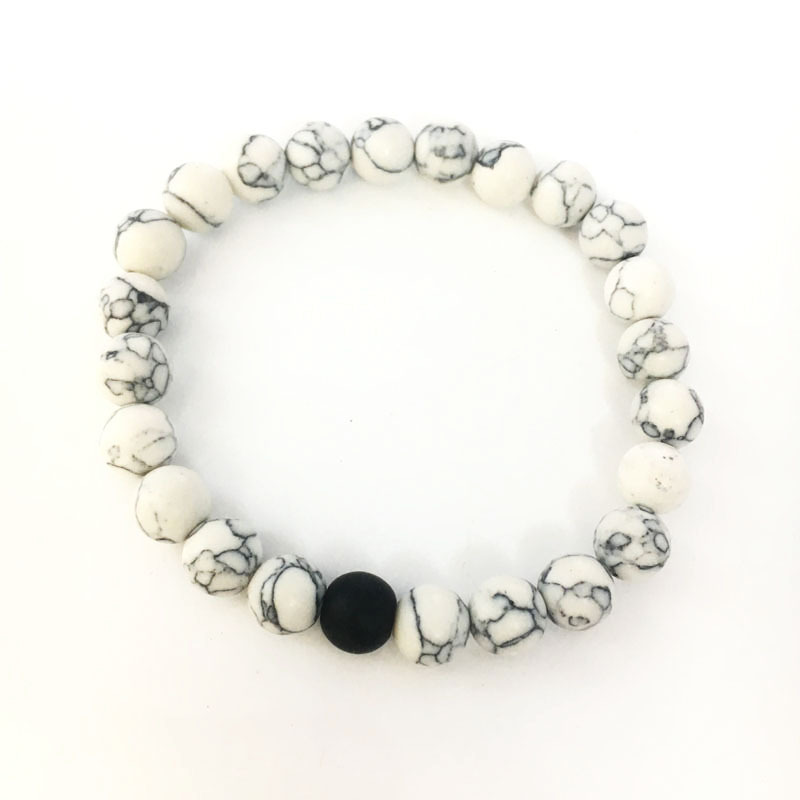White Marble and Matte Black Matching Bracelets