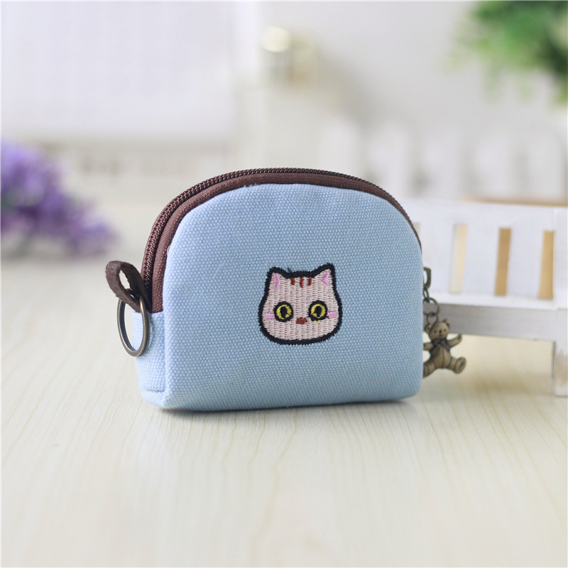 Embroidered Animals and Flowers Canvas Coin Purse for Ladies