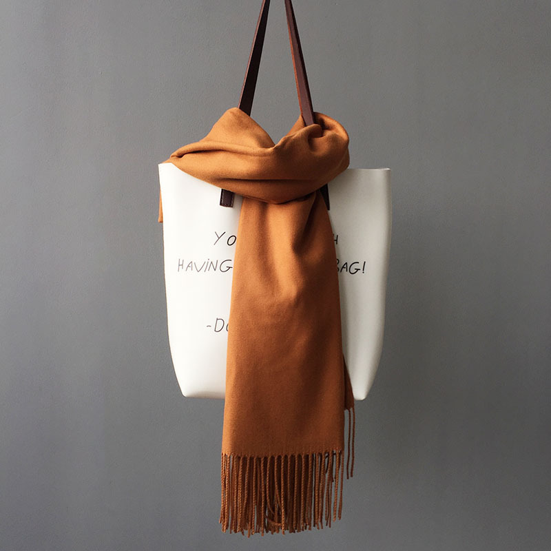 Classic Fringed Faux Cashmere Scarf for Cold Season