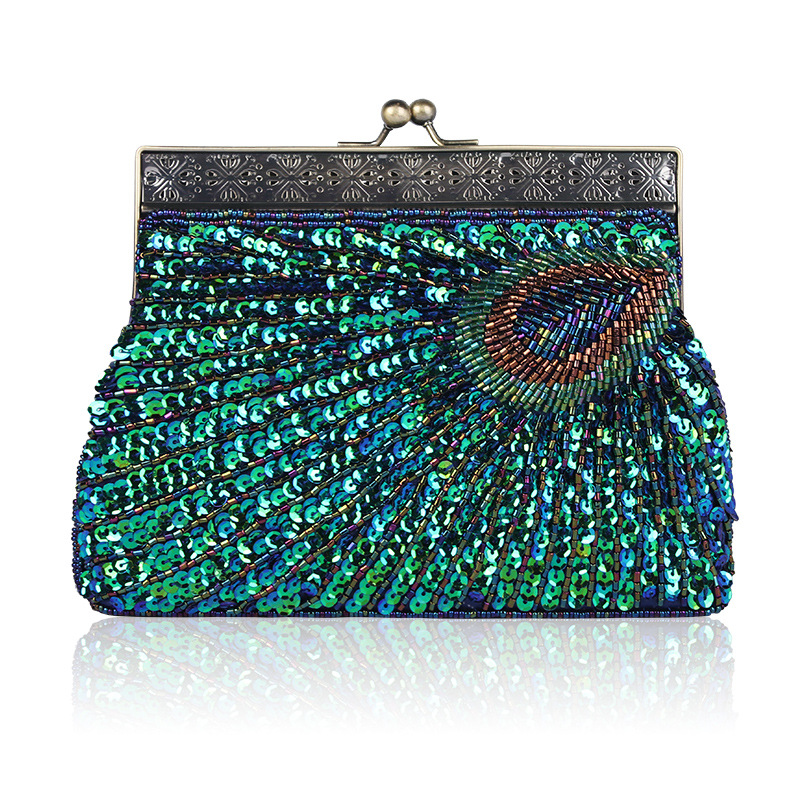 Sequins Stitched Peacock Designed Wallet with Kiss Lock for Coin Holder