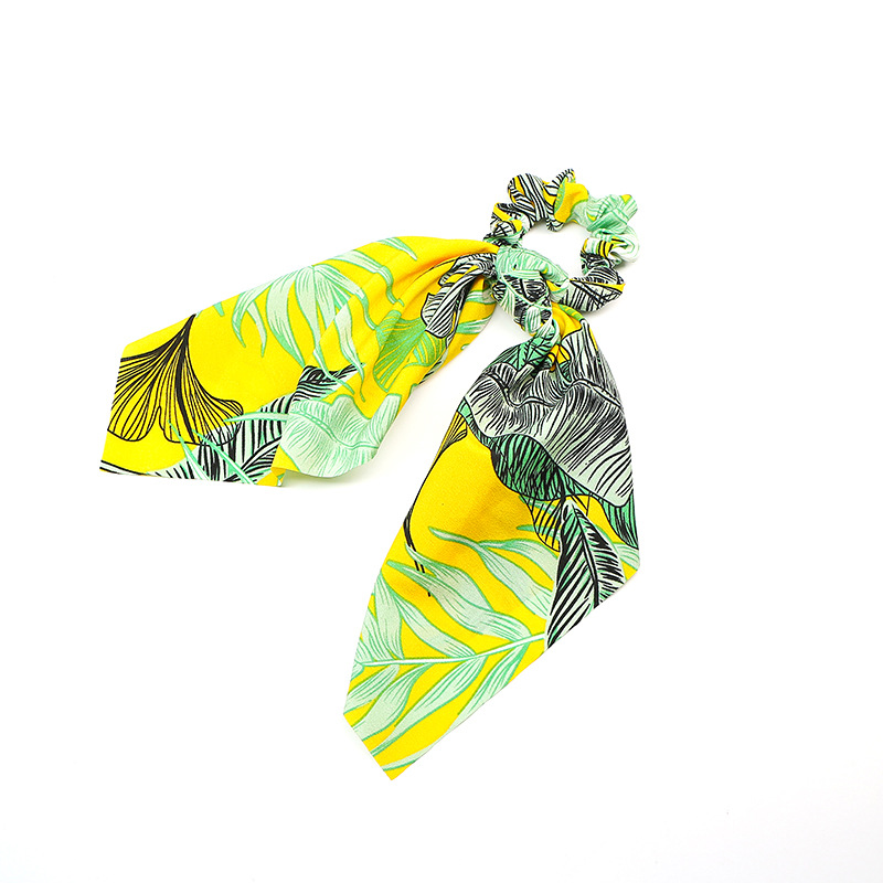 Tropical Leaves Bow Knot Hair Tie