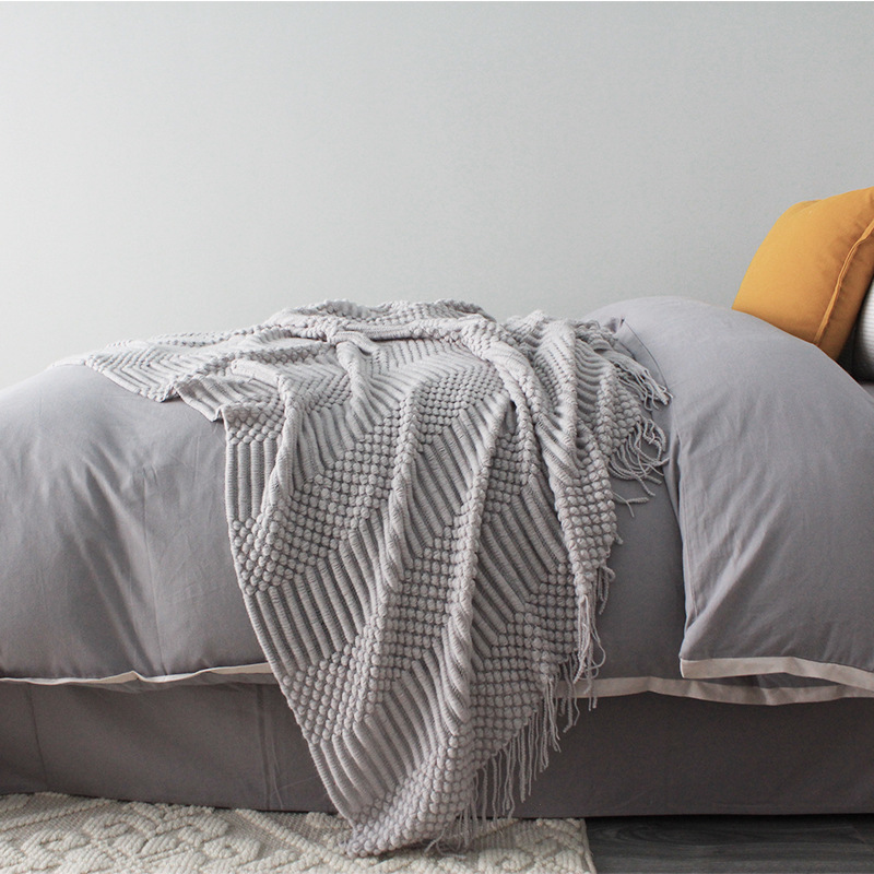 Multitextured and Fringed Acrylic and Polyester Blanket for Naps and Sleep