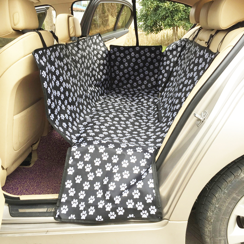 Waterproof Black/Brown Paw-Patterned Car Mat for Outdoor Trips with Pets