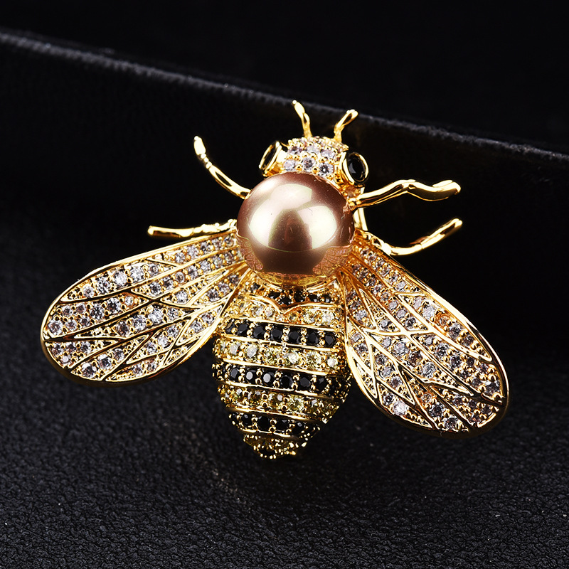 Elegant Bejeweled Bee Brooch for Clothes