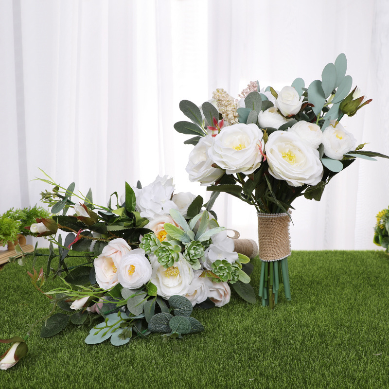Faux White Peonies Bunch