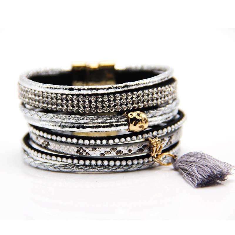 Boho Tassel on Layered Leather Bracelet
