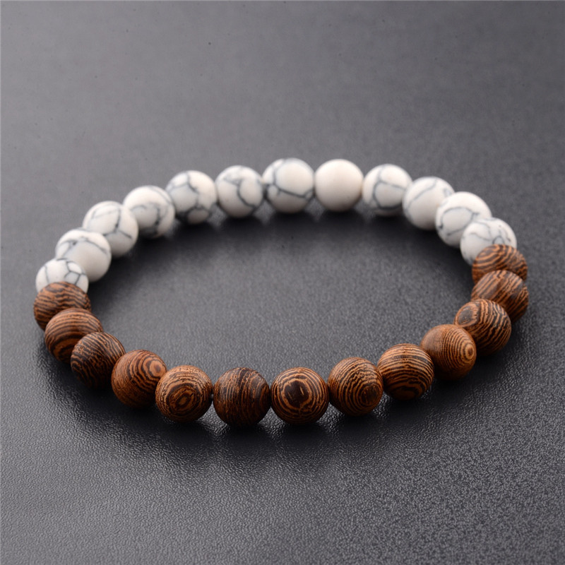 Half Colored Wood Beads Bracelet for Simple Outfits