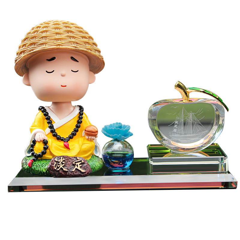 Creative Cartoon Monk with Aromatherapy Flower Diffuser for Car Accessories