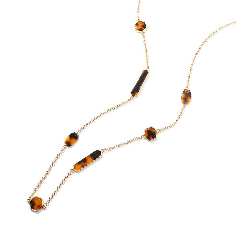 Sherisse Acrylic Shapes Long Necklace